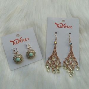 NWT 2 PAIRS EARRINGS TURQUOISE MINT & GOLD